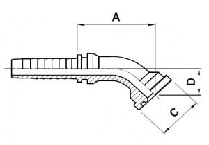 10817-..-.. 45° SAE 3000PSI (Code 61) Perskoppeling