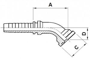 10818-..-.. 45° SAE 6000PSI (Code 62) Perskoppeling